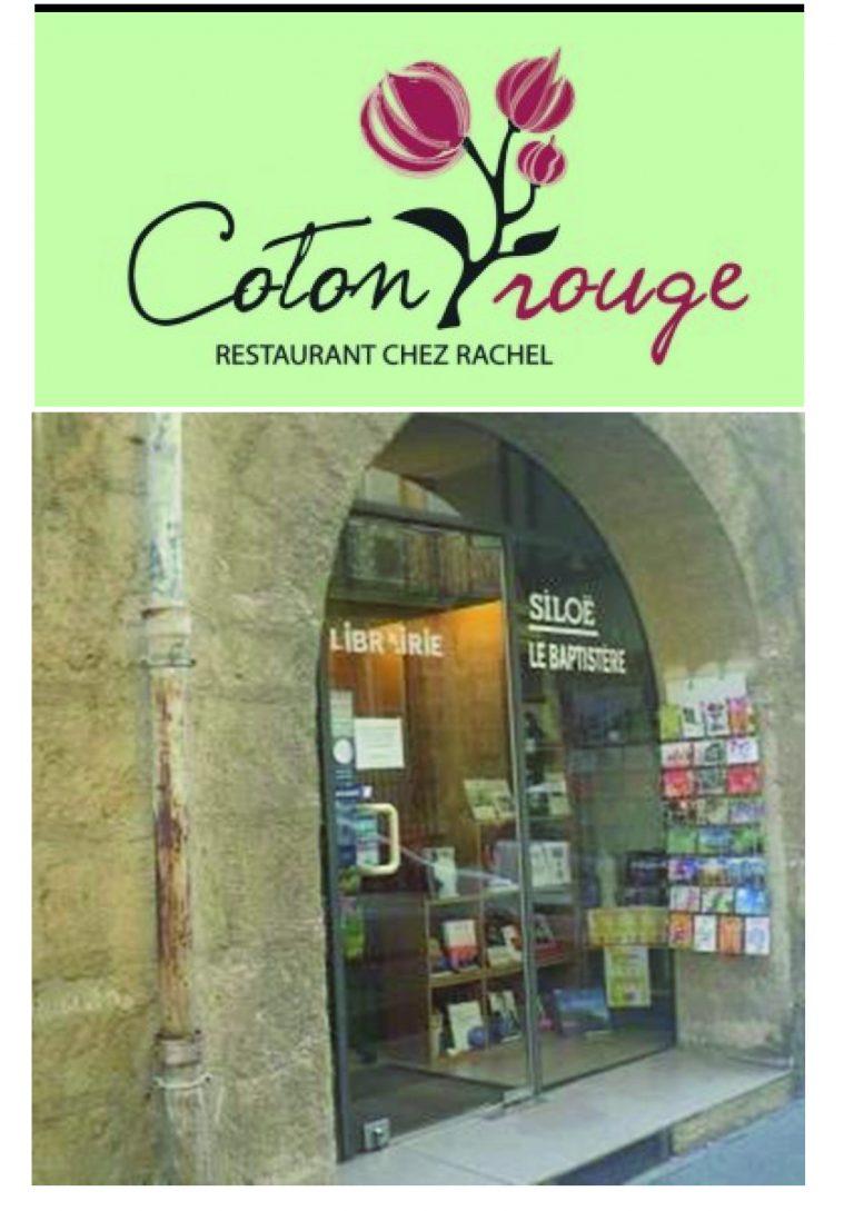 Michel CAHOUR au restaurant le Coton Rouge et Marie-René NOIR à la librairie Siloë le Baptistère