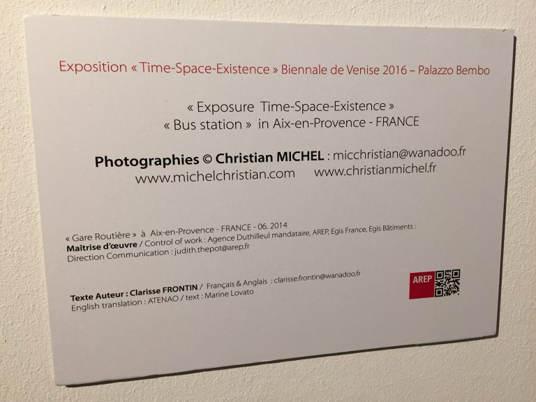 Photos de l'exposition Christian MICHEL Biennale de Venise 2016