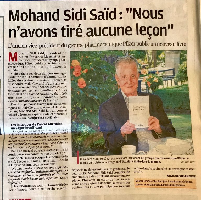 Mohand Sidi Saïd dans La Provence du 24 juillet