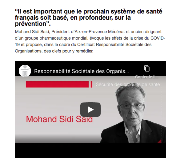 Sciences Po Aix- formation RSO par Mohand Sidi Saïd